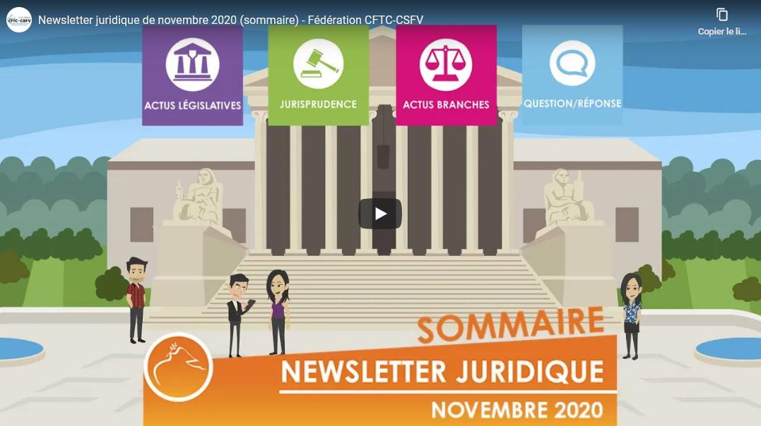 Newsletter juridique de la Fédération CFTC – Novembre 2020